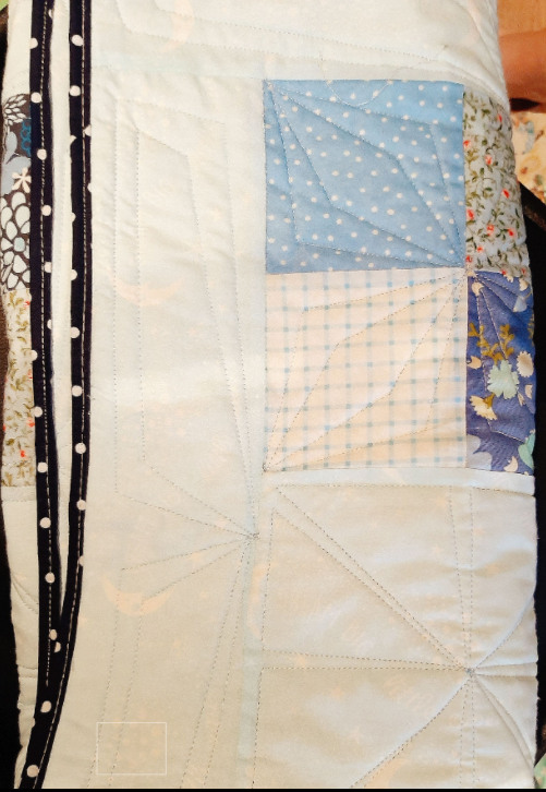 Blue Fabrics Patchwork Baby Quilt - straight1