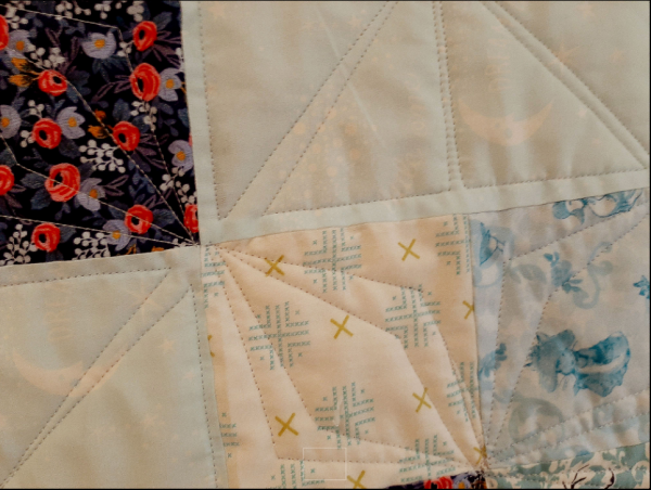 Blue Fabrics Patchwork Baby Quilt - straight3