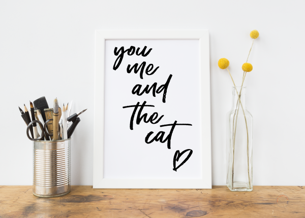 You Me And The Cat Art Print