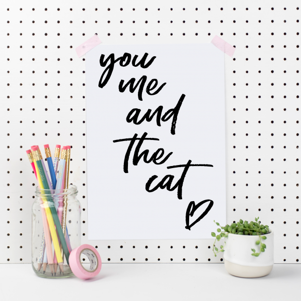 You Me And The Cat Art Print - you me cat
