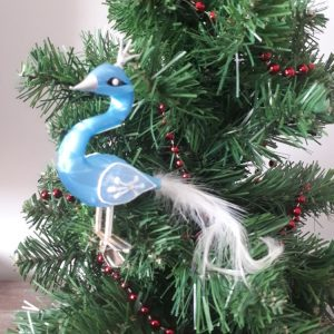 Glass Blue Swan with CrownChristmas Tree Decoration