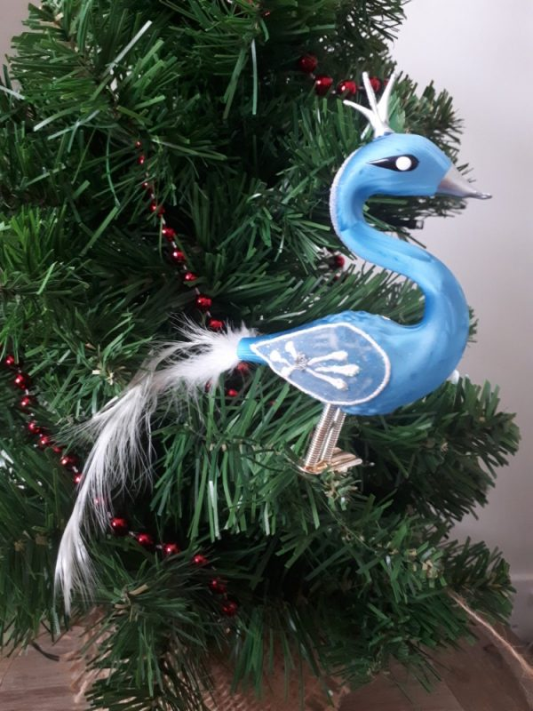 Glass Blue Swan with CrownChristmas Tree Decoration - 20200923 092039