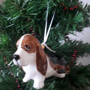 Basset Hound Dog Glass Christmas Tree Decoration