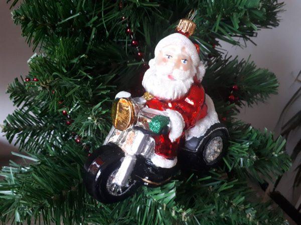Santa on Motorbike Christmas Tree Decoration