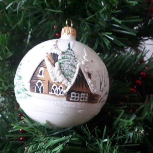 Glass Christmas Tree Bauble - White