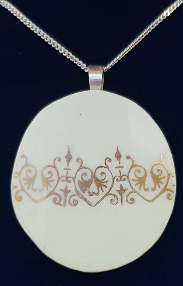 Vintage Bone China Pendant / Necklace: Circle - Two tone with Gold - 20201206 112742
