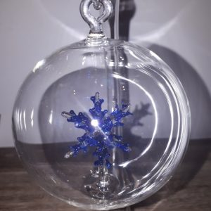 Blue Snowflake Glass Bauble Glass Art