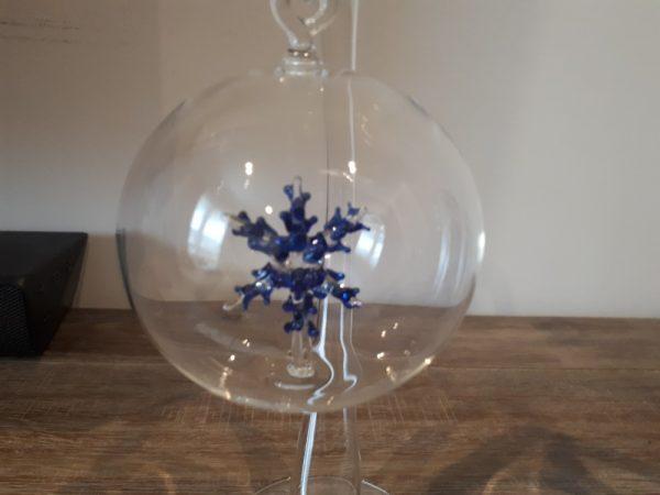 Blue Snowflake Glass Bauble Glass Art - 20201207 100255