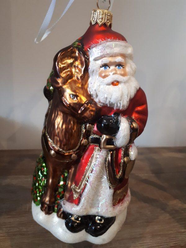 Santa with Reindeer Handmade Christmas Tree Decoration