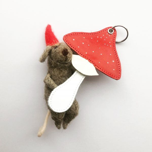 Leather Toadstool Keyring or Ornament