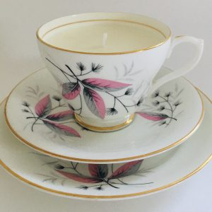 Teacup Candle - Pink & Grey Leaf Islington Fine Bone China
