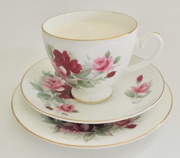 Teacup Candle - Pink Floral Royal Grafton Fine Bone China