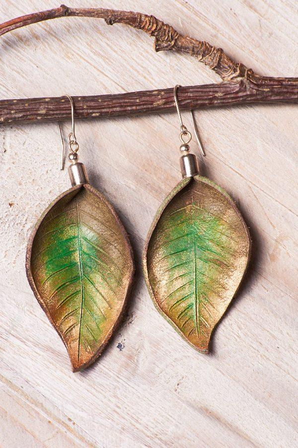 Hand Painted Leather Earrings IV - Handmade Leather Earrings by Ertisun Ireland 21