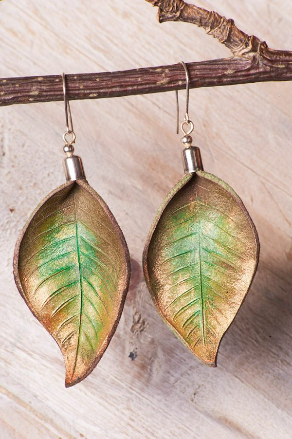 Hand Painted Leather Earrings IV - Handmade Leather Earrings by Ertisun Ireland 23