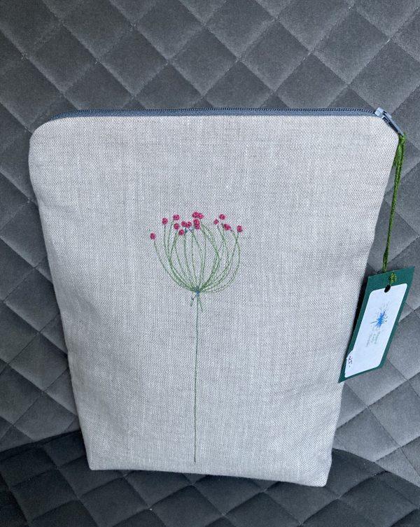 Natural Zipped Linen Pouch (Pink)
