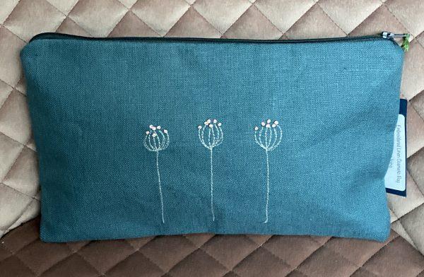 Blue Zipped Linen Pouch (Pink)