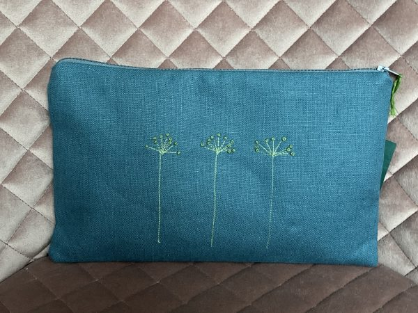Blue Zipped Linen Pouch (Mint Green) - IMG 1189