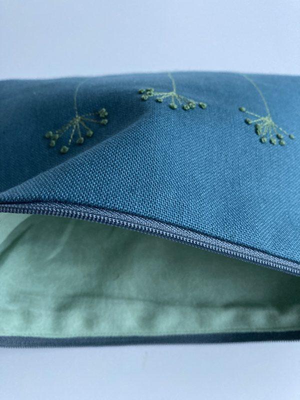 Blue Zipped Linen Pouch (Mint Green) - IMG 1192