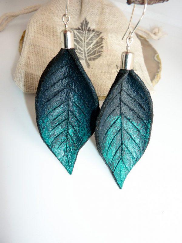 Hand Painted Leather Earrings III - Leather Earrings Handmade Hand Painted by Ertisun 13 1