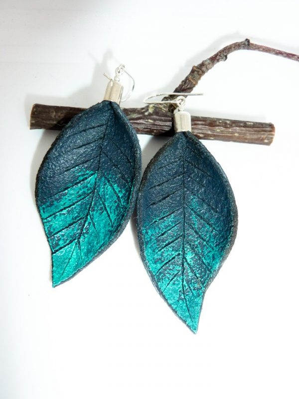 Hand Painted Leather Earrings III - Leather Earrings Handmade Hand Painted by Ertisun 16