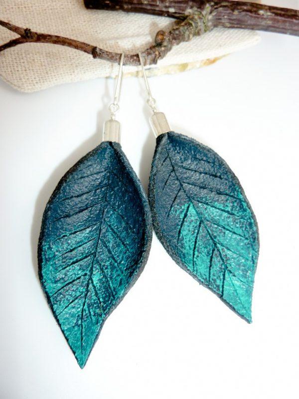 Hand Painted Leather Earrings III - Leather Earrings Handmade Hand Painted by Ertisun 9