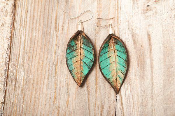 Hand Painted Leather Earrings XI - Leaves Leather Jewellery Handmade by Ertisun Ireland 1