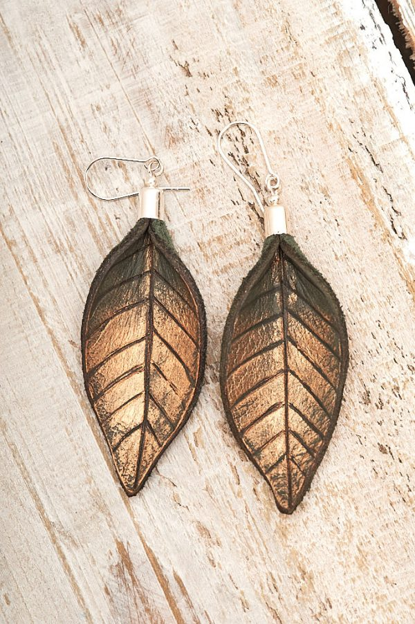 Hand Painted Leather Earrings Gold