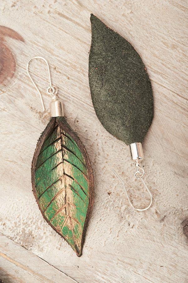 Hand Painted Leather Earrings IX - Leaves Leather Jewellery Handmade by Ertisun Ireland 11