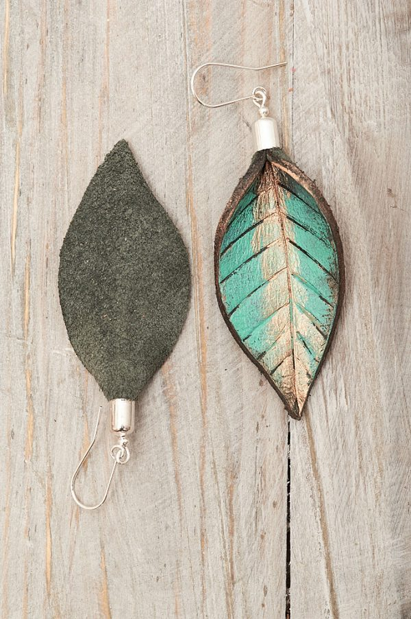 Hand Painted Leather Earrings XI - Leaves Leather Jewellery Handmade by Ertisun Ireland 12