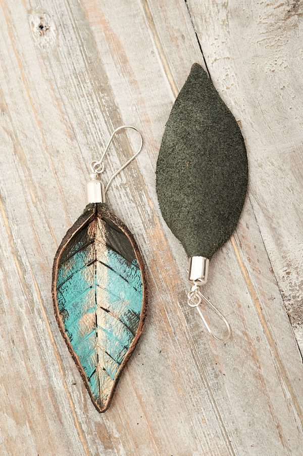 Hand Painted Leather Earrings XI - Leaves Leather Jewellery Handmade by Ertisun Ireland 14