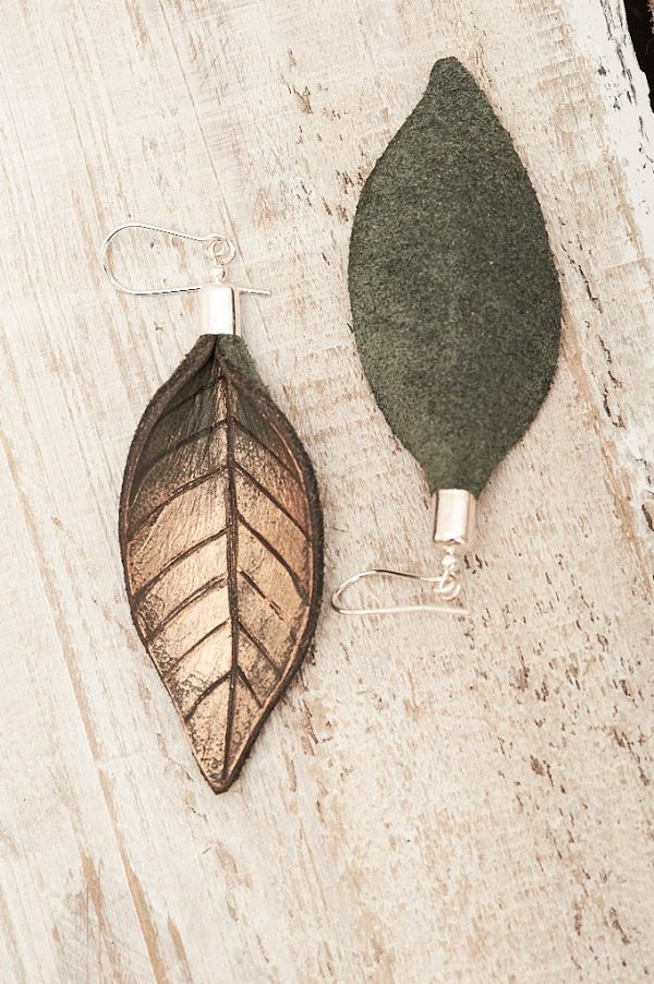 Hand Painted Leather Earrings Gold - Leaves Leather Jewellery Handmade by Ertisun Ireland 15