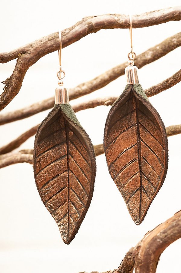 Hand Painted Leather Earrings Gold - Leaves Leather Jewellery Handmade by Ertisun Ireland 18