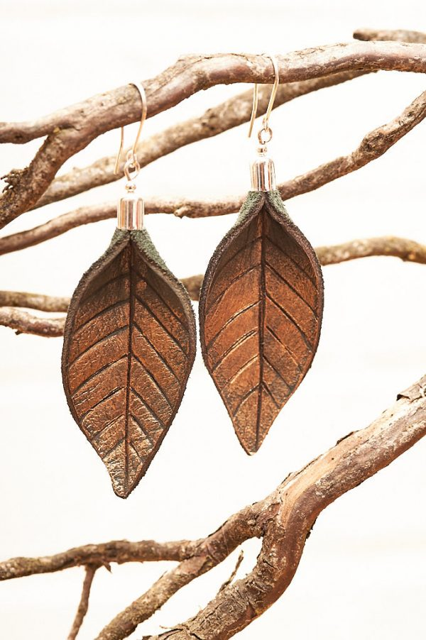 Hand Painted Leather Earrings Gold - Leaves Leather Jewellery Handmade by Ertisun Ireland 19