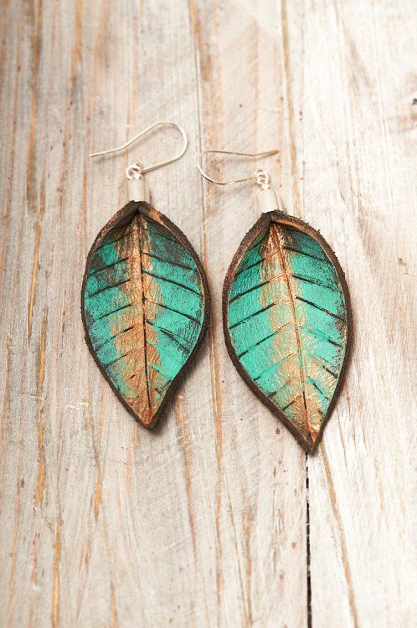 Hand Painted Leather Earrings XI - Leaves Leather Jewellery Handmade by Ertisun Ireland 2