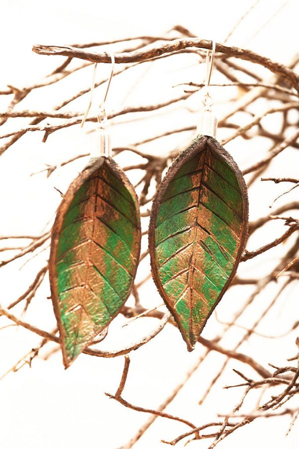 Hand Painted Leather Earrings IX - Leaves Leather Jewellery Handmade by Ertisun Ireland 20