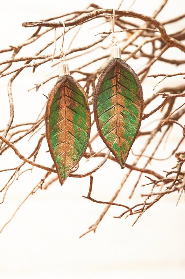 Hand Painted Leather Earrings IX - Leaves Leather Jewellery Handmade by Ertisun Ireland 21