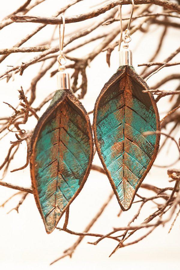 Hand Painted Leather Earrings XI - Leaves Leather Jewellery Handmade by Ertisun Ireland 22