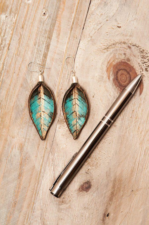 Hand Painted Leather Earrings XI - Leaves Leather Jewellery Handmade by Ertisun Ireland 24