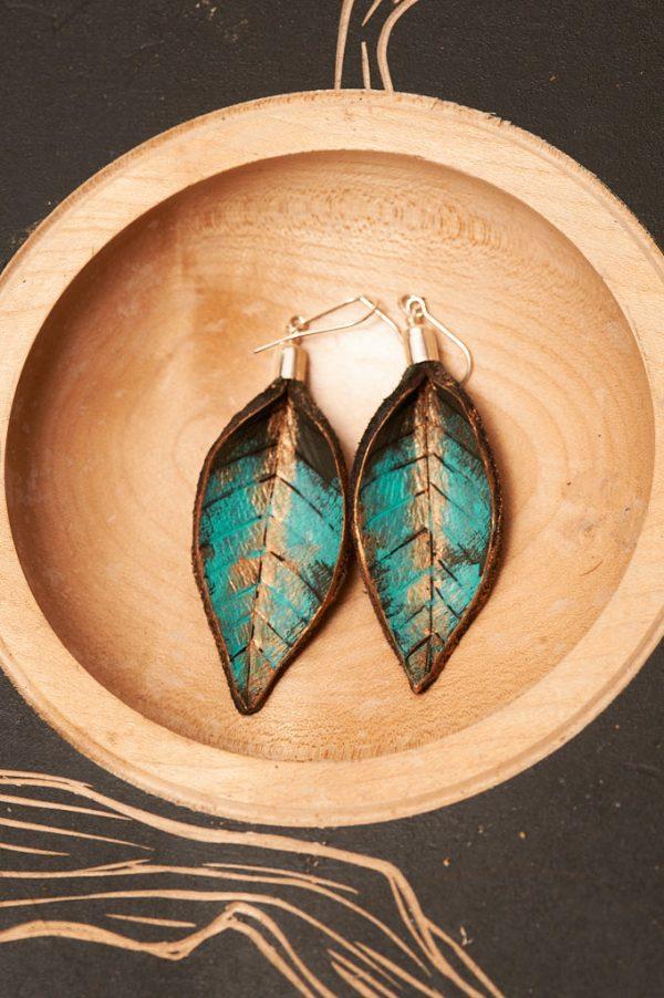 Hand Painted Leather Earrings XI - Leaves Leather Jewellery Handmade by Ertisun Ireland 25
