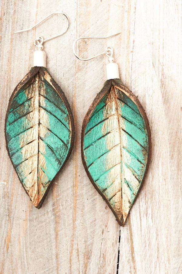 Hand Painted Leather Earrings XI - Leaves Leather Jewellery Handmade by Ertisun Ireland 3