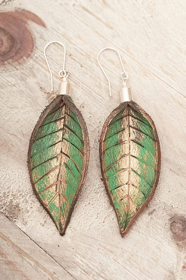 Hand Painted Leather Earrings IX