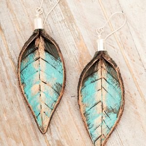 Hand Painted Leather Earrings XI