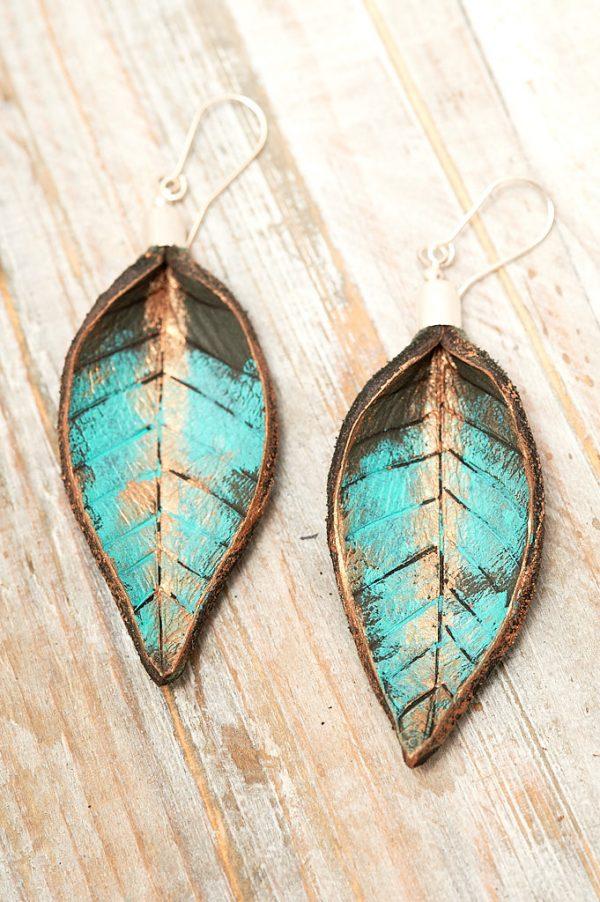 Hand Painted Leather Earrings XI - Leaves Leather Jewellery Handmade by Ertisun Ireland 7