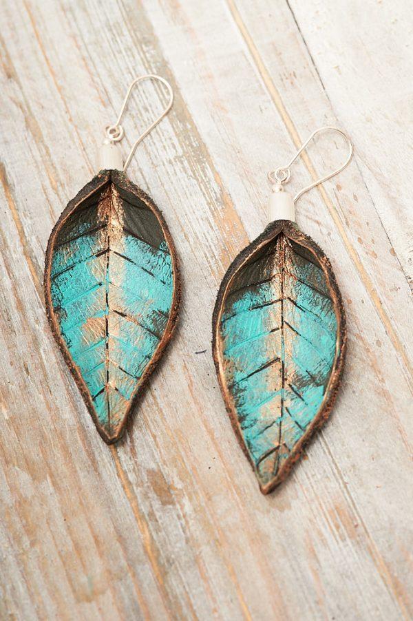Hand Painted Leather Earrings XI - Leaves Leather Jewellery Handmade by Ertisun Ireland 8
