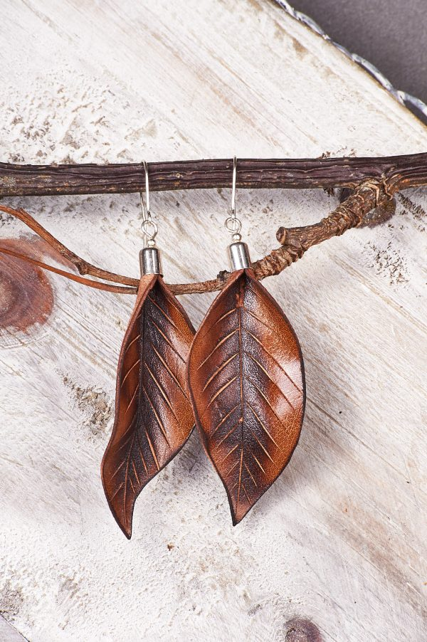 Hand Painted Leather Earrings Sunset - Leaves Leather Set Jewellery Handmade by Ertisun Ireland rotated