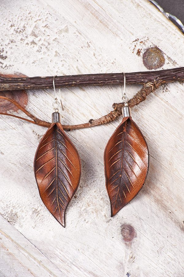 Hand Painted Leather Earrings Sunset - Leaves Leather Set Jewellery Handmade by Ertisun Ireland 2 rotated