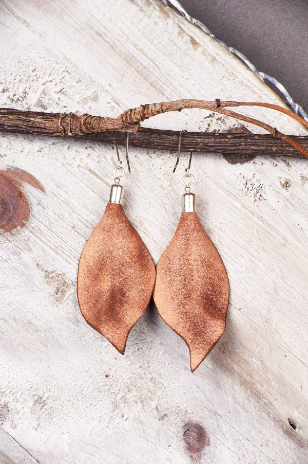 Hand Painted Leather Earrings Sunset - Leaves Leather Set Jewellery Handmade by Ertisun Ireland 3 rotated