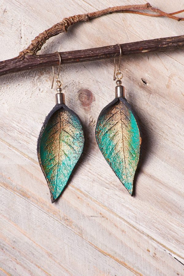 Hand Painted Leather Earrings Tears - Leaves Leather Set Jewellery Handmade by Ertisun Ireland 32 rotated
