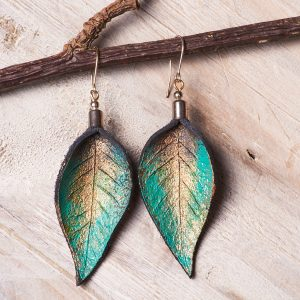 Hand Painted Leather Earrings Tears