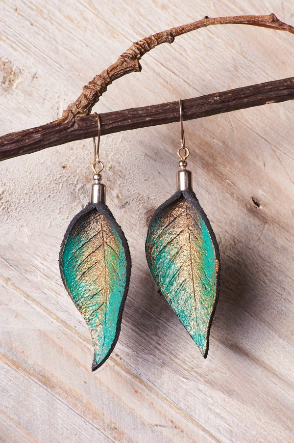 Hand Painted Leather Earrings Tears - Leaves Leather Set Jewellery Handmade by Ertisun Ireland 34 rotated